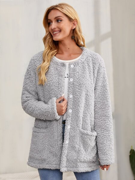 Button Front Dual Pockets Teddy Coat