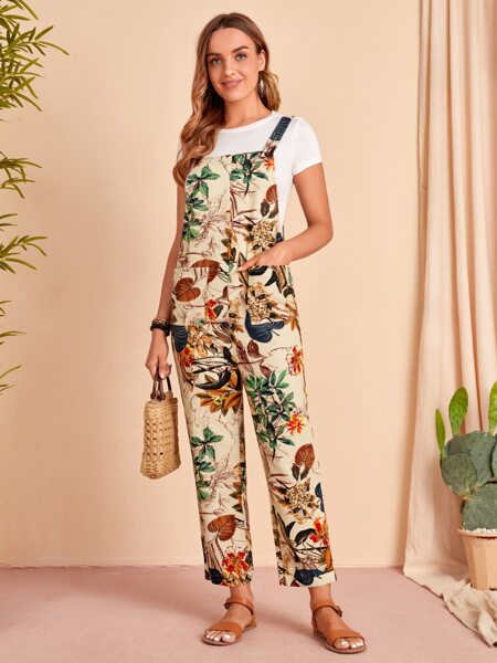 Tropical Print Patched Pocket Overall Jumpsuit