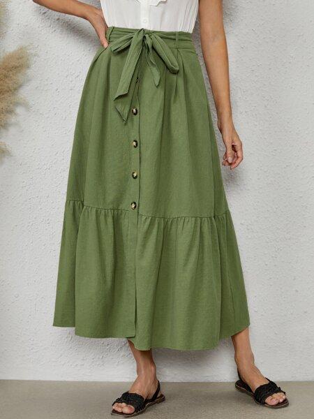 Button Front Ruffle Hem Belted Skirt