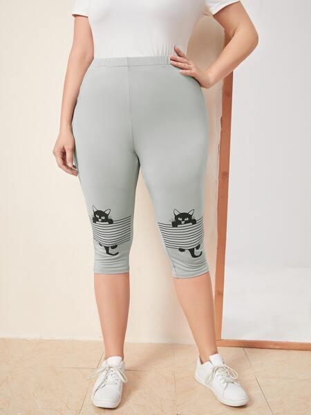 Plus Cat & Striped Print Leggings