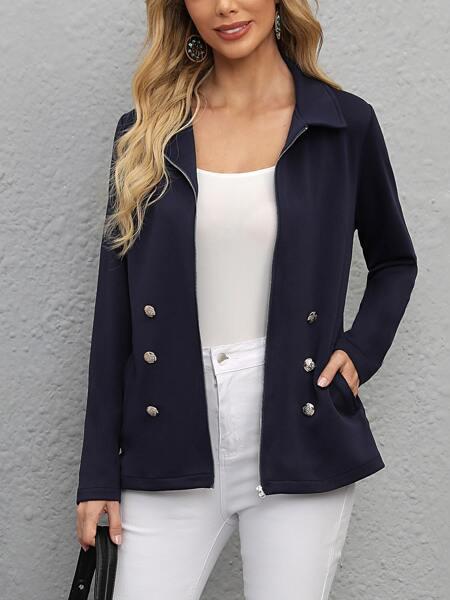 Double Breasted Slant Pocket Zipper Coat