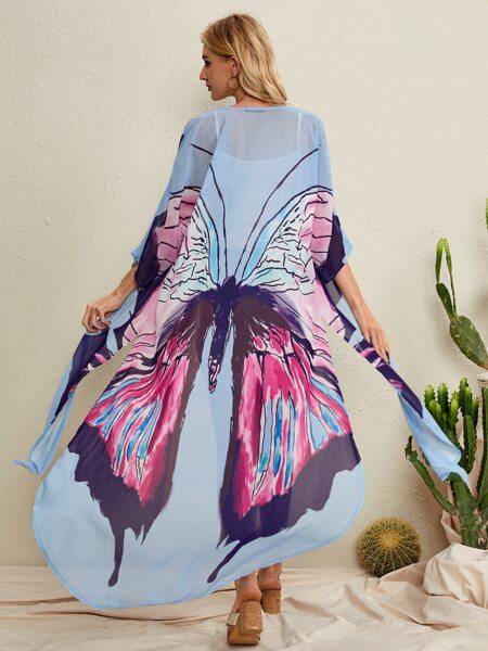 Butterfly Print Longline Kimono