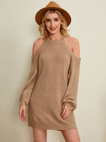 Cold Shoulder Solid Sweater Dress