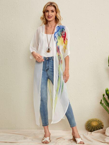 Parrot Print Longline Kimono