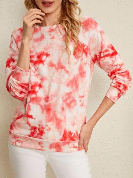 Tie Dye Print Raglan Sleeve Sweatshirt