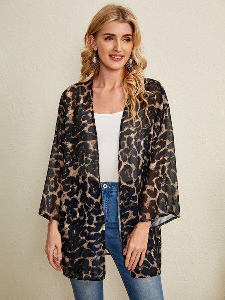 Leopard Pattern Open Front Kimono