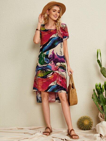 Allover Print High Low Hem Dress