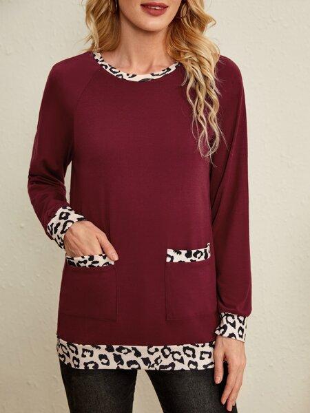 Contrast Leopard Print Raglan Sleeve Sweatshirt