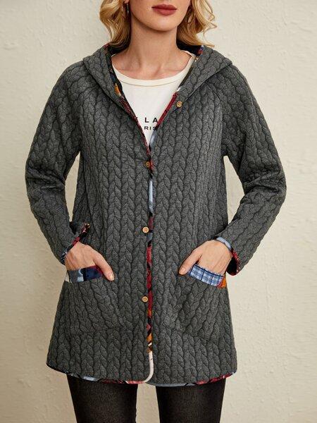 Contrast Trim Pocket Front Textured Hooded Coat