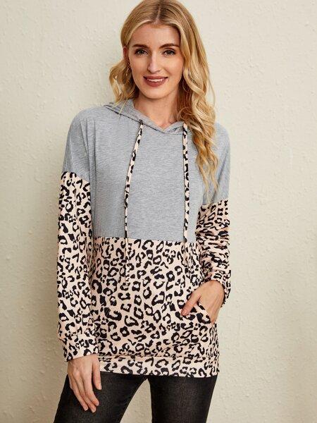 Leopard Print Drop Shoulder Drawstring Kangaroo Pocket Hoodie