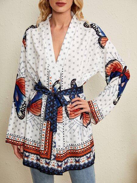 Butterfly Print Knot Waist Kimono