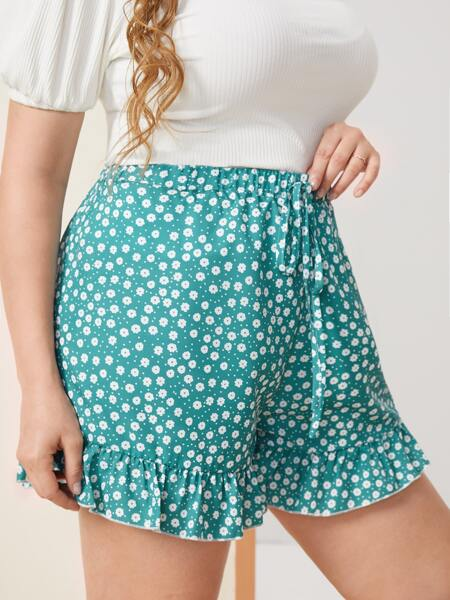 Plus Ditsy Floral Knot Front Ruffle Hem Shorts