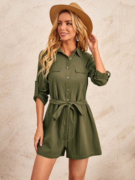 Roll Up Sleeve Flap Belted Jumpsuit