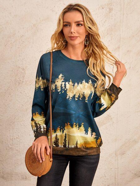 Scenery Print Raglan Sleeve Pullover