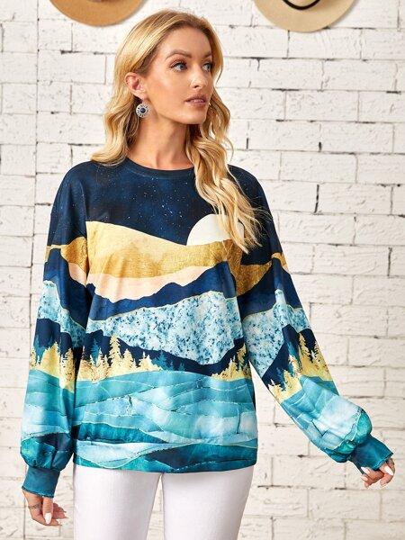 Scenery Print Drop Shoulder Pullover