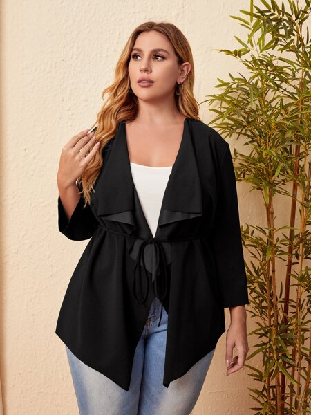 Plus Waterfall Collar Belted Coat