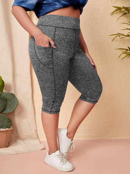 Plus Pocket Patched Topstitching Leggings