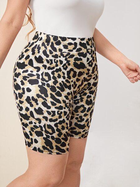 Plus Leopard Print Biker Shorts