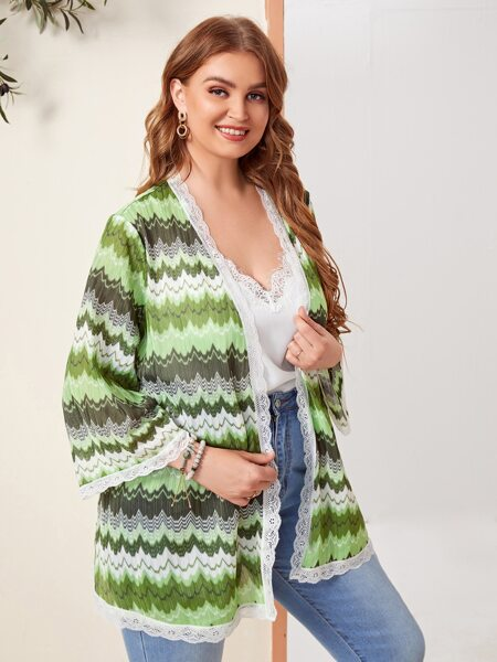 Plus Chevron Print Lace Trim Kimono