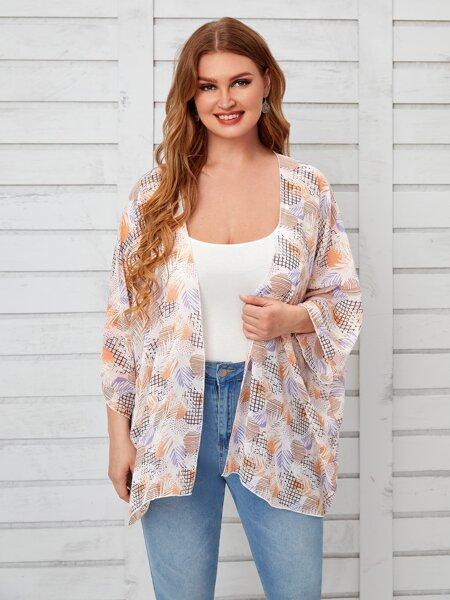 Plus Allover Print Chiffon Kimono