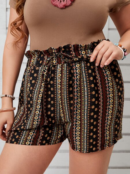 Plus Ditsy Floral & Geo Print Paperbag Waist Shorts