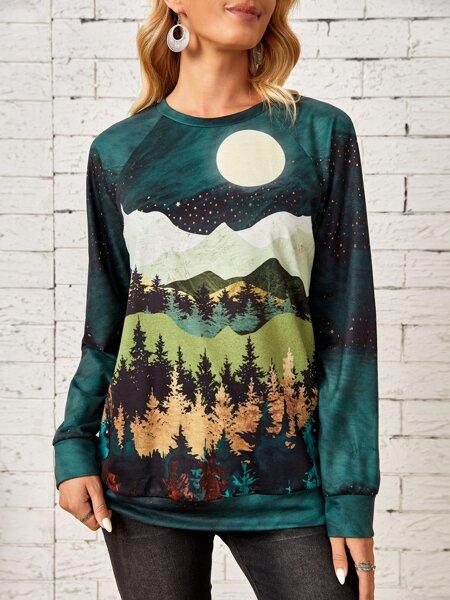 Forest & Mountain Print Raglan Sleeve Pullover