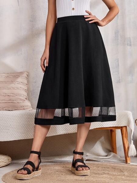 Mesh Insert Flare Skirt