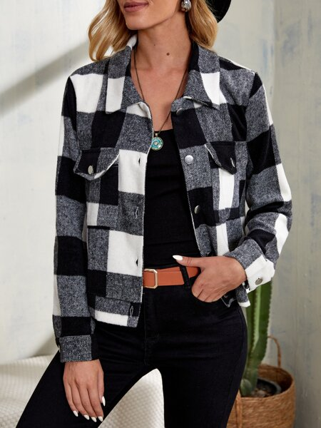 Buffalo Plaid Print Flap Pocket Overcoat