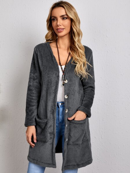 Dual Patched Pocket Flannel Coat