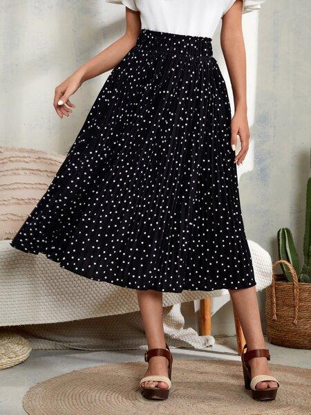 Polka Dot Elastic Waist Pleated Skirt