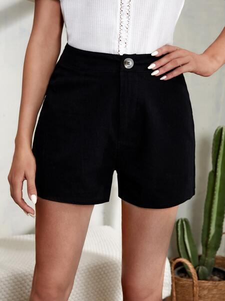 Solid High Waist Shorts