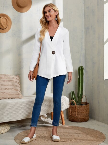 Solid Single Button Coat