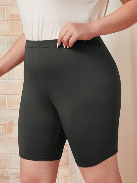 Plus Solid Biker Shorts