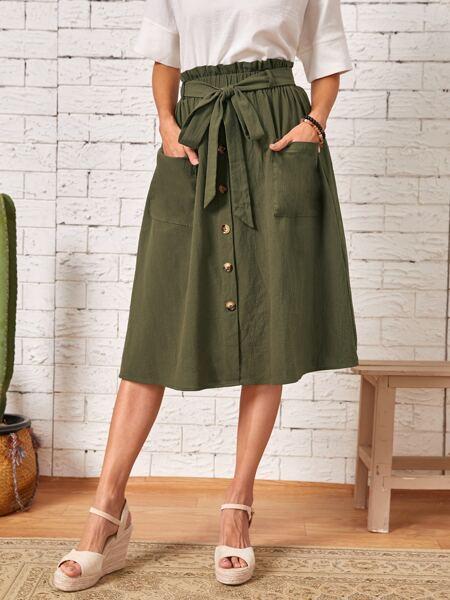 Paperbag Waist Self Belted Skirt