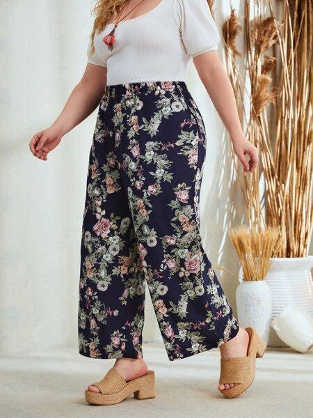 Plus Floral Print Elastic Waist Wide Leg Pants