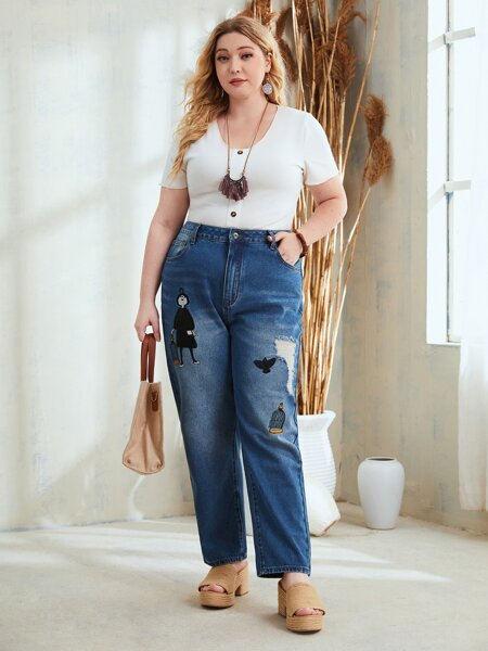 Plus Stone Wash Ripped Embroidery Detail Jeans