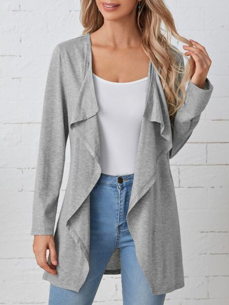 Solid Open Front Coat