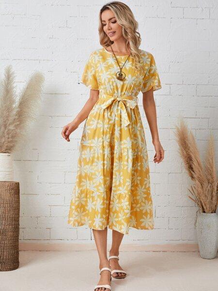 Floral Print Belted A-Line Dress
