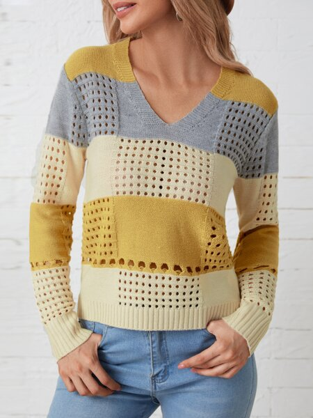 Open Knit Color Block Sweater