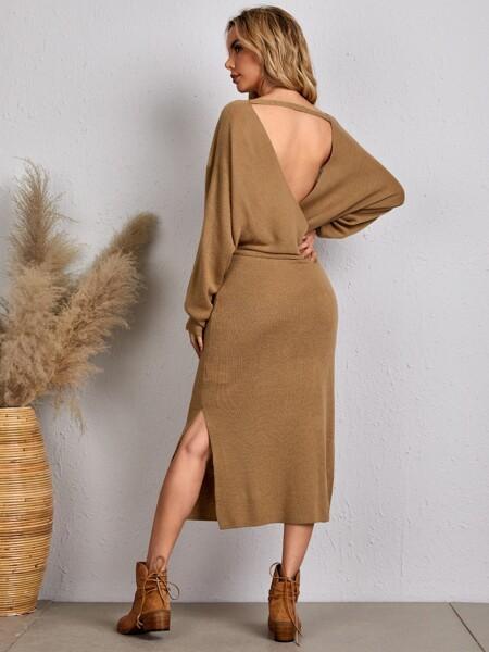 Solid Plunging Neck Slit Side Sweater Dress