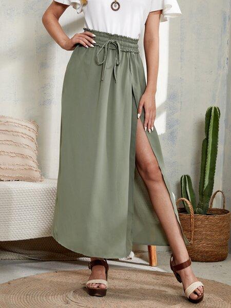Solid Paper Bag Drawstring Waist Wrap Hem Skirt