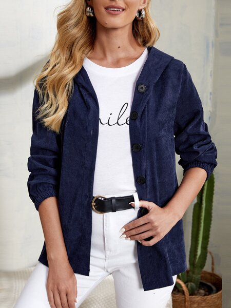 Button Front Hooded Coat