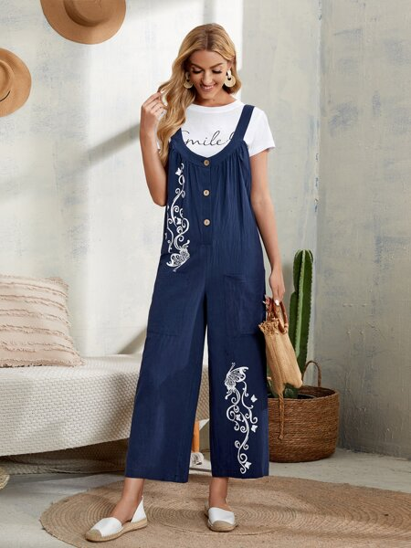Butterfly Print Button Detail Pinafore Jumpsuit