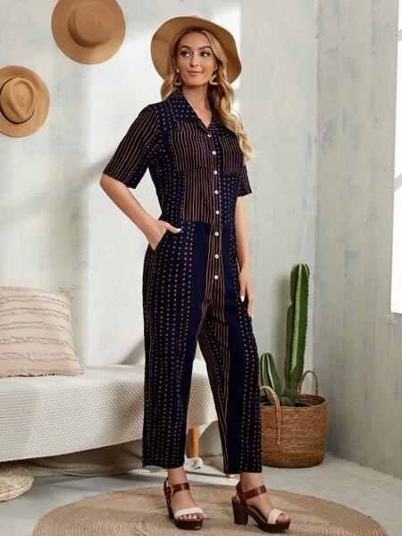Polka Dot & Stripe Print Button Front Jumpsuit