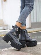 Buckle Decor Lace-up Combat Boots