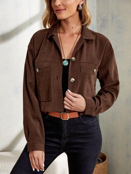 Drop Shoulder Pocket Patched Crop Jacket