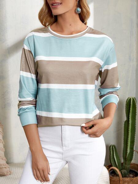 Colorblock Round Neck Sweatshirt