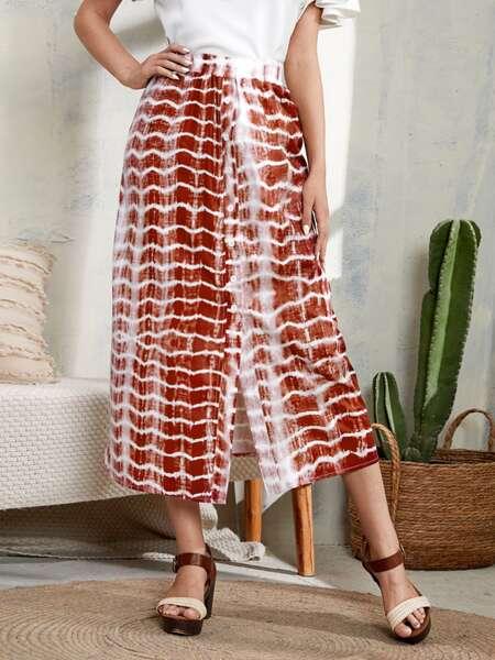 Tie Dye Split Hem Skirt