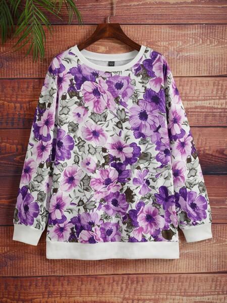 Plus Allover Floral Print Sweatshirt