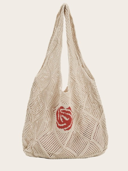 Floral Graphic Knit Tote Bag